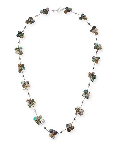"Margo Morrison Abalone Teardrop & Gray Pearl Necklace, 35""L"