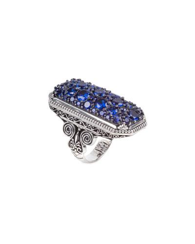 Circe Blue Spinel Rectangular Ring, Size 7