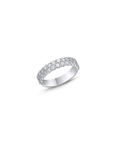 0.64 Ct BLUE SAPPHIRE Two Row Wedding Band Ring SET White Gold Plated SIZE 6-9