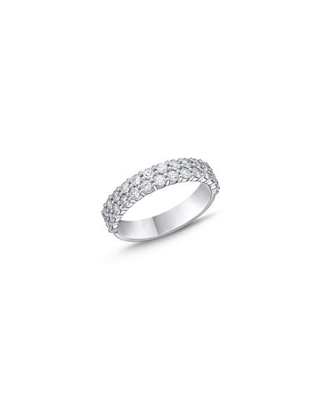 Memoire 18k White Gold Halfway 2-Row Diamond Ring, Size 6-8