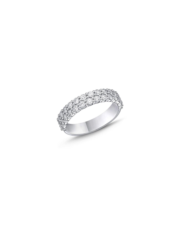 18k White Gold Halfway 2-Row Diamond Ring
