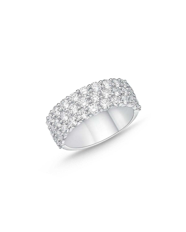 18k White Gold Halfway 3-Row Diamond Ring