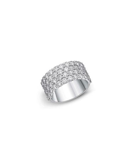 Memoire 18k White Gold Halfway 4-Row Diamond Ring, Size 6-8