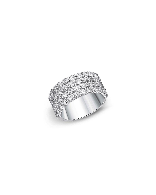 18k White Gold Halfway 4-Row Diamond Ring