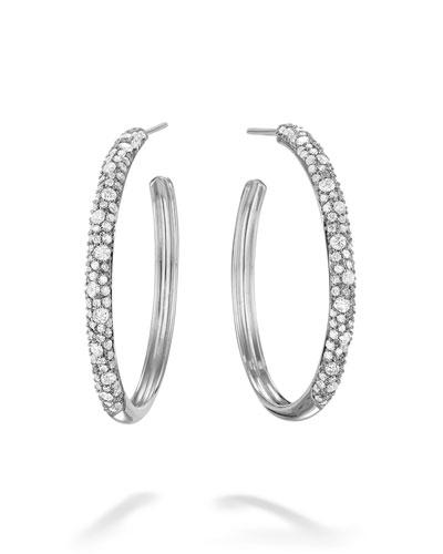 64f6f7cd1 Quick Look. LANA · 14k White Gold Thin Diamond Cluster Hoop Earrings ...