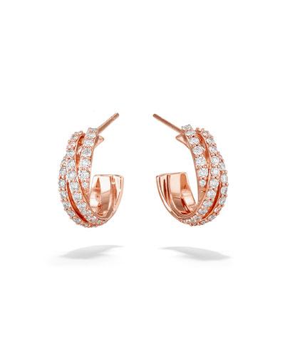 461eb5a2e Quick Look. LANA · Triple Crossover 14k Rose Gold Diamond Hoop Earrings ...