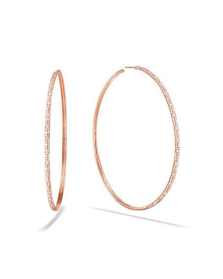 Lana 14k Rose Gold Thin Diamond Cluster Hoop Earrings, 85mm