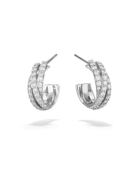 Lana Triple Crossover 14k White Gold Diamond Hoop Earrings, 15mm