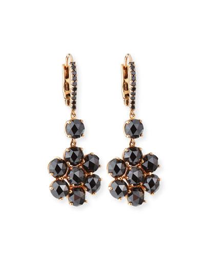 18K Rose Gold Black Diamond Flower Earrings