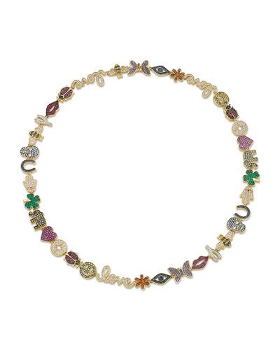14k Rainbow Sapphire & Diamond Anniversary Necklace