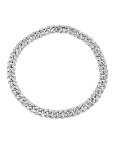 14k White Gold Micro Diamond-Link Necklace, 16