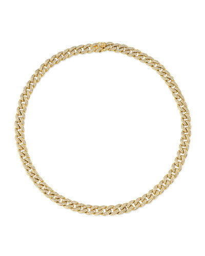 14k Mini Diamond-Link Necklace, 16