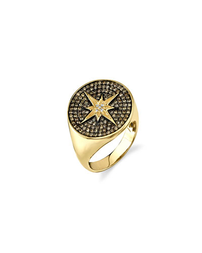 14k Diamond Starburst Signet Ring, Size 6.5