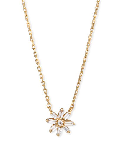 18k Diamond & Baguette Starburst Necklace