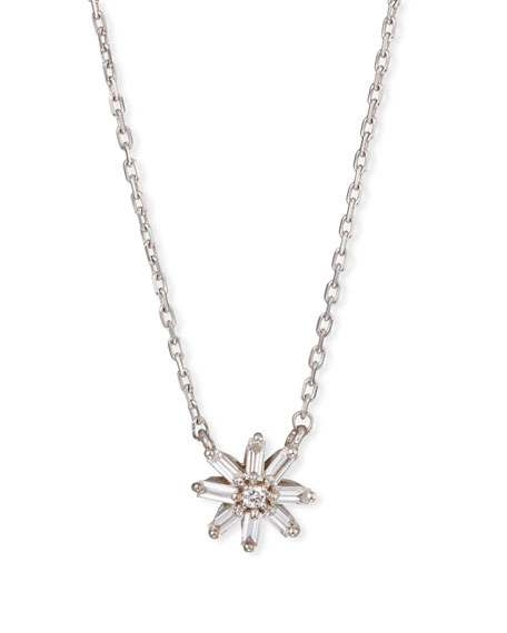 Suzanne Kalan 18k White Gold Diamond & Baguette Starburst Necklace
