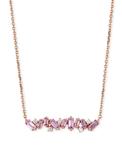 18k Rose Gold Sapphire Bar & Diamond Necklace, Pink