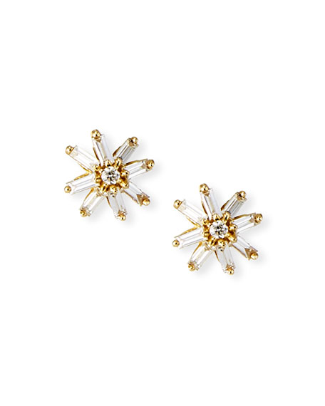 Suzanne Kalan 18k Gold Starburst Diamond Stud Earrings