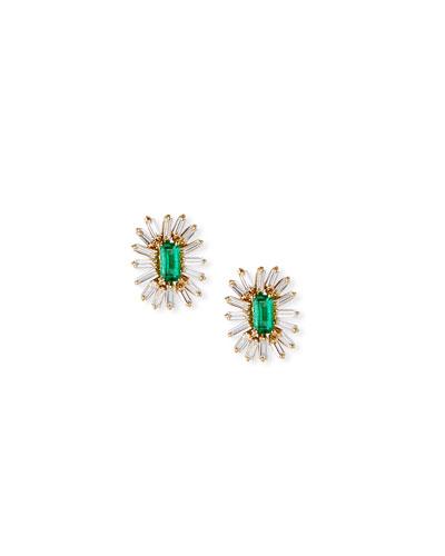 18k Emerald & Diamond Baguette Stud Earrings