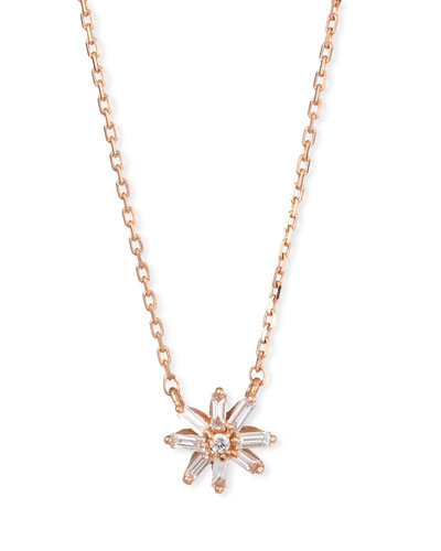 18k Rose Gold Diamond & Baguette Starburst Necklace