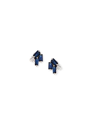 18k White Gold Firework Sapphire & Diamond Earrings, Blue