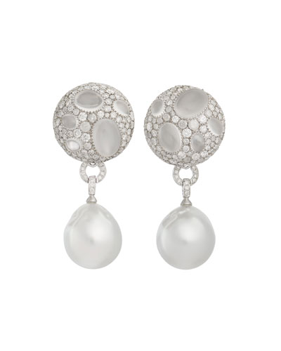 18k White Gold Diamond/Moonstone Cookie Earrings w/ Baroque Pearls