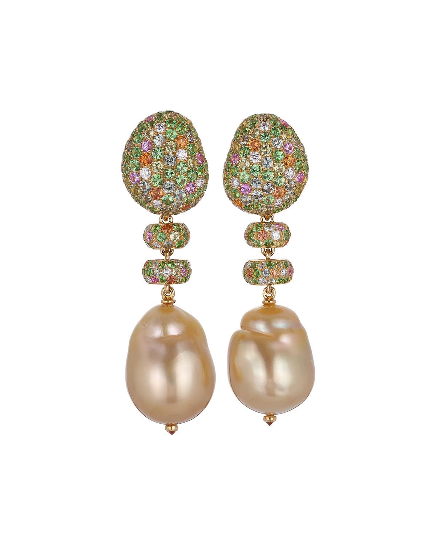 Golden Bliss Pearl-Drop Earrings w/ Diamonds & Sapphires