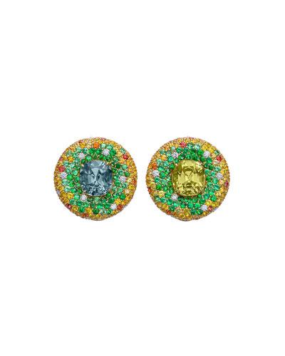 18k Mismatch Pave Stud Earrings