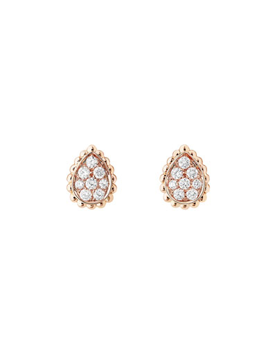 Serpent Boheme 18k Pink Gold Diamond Stud Earrings