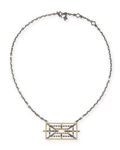 Old World Diamond Rectangular Pendant Necklace