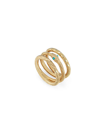 18k 3-Row Ouroboros Snake Ring w/ Turquoise, Size 6.75