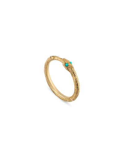 18k Ouroboros Snake Ring w/ Turquoise, Size 6.25