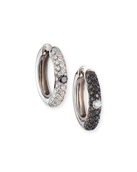 Adolfo Courrier 18k White Gold Mismatch Diamond Hoop Earrings