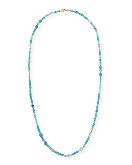 """Splendid Company 18k Bohemian Mixed-Stone Necklace, 48""""L"""