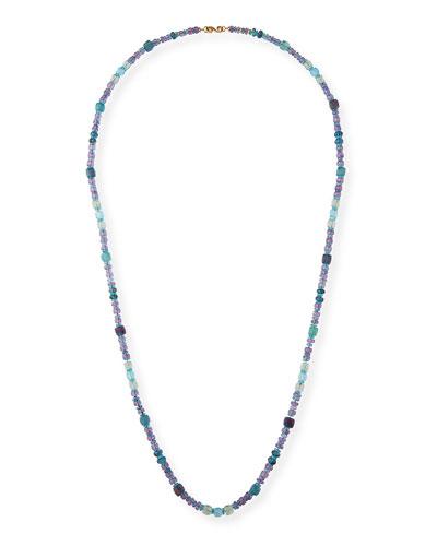 18k Long Watercolor Stone Necklace, 38
