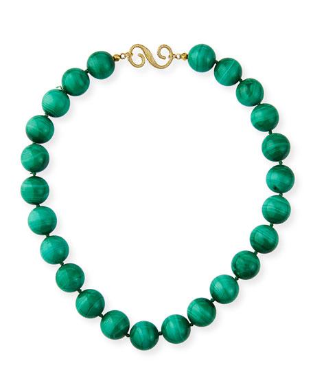 Splendid Company 18k Malachite & Emerald Necklace