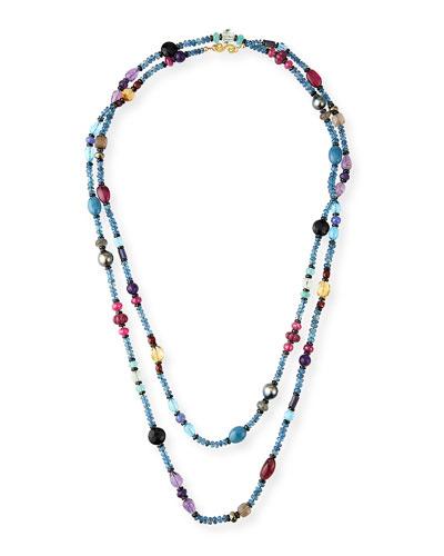Extra-Long Mixed Gemstone Necklace, 60