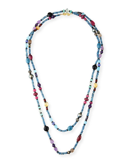 "Splendid Company Extra-Long Mixed Gemstone Necklace, 60""L"