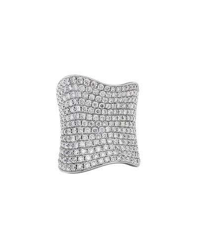 18k White Gold Pave Wavy Diamond Ring