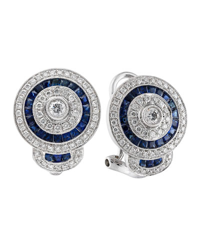 18k White Gold Diamond & Blue Sapphire Stud Earrings