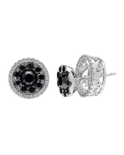 18k White Gold Black & White Diamond Stud Earrings