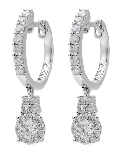 18k White Gold Diamond Huggie-Drop Earrings