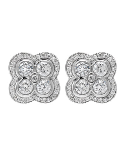 18k White Gold Diamond Flower Stud Earrings, 1.18tcw