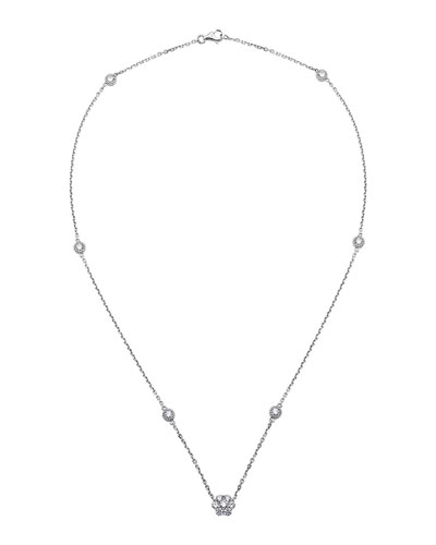 18k White Gold Diamond By-the-Yard & Pendant Necklace