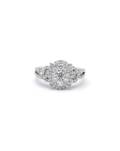 18k White Gold Pave Oval Diamond Ring