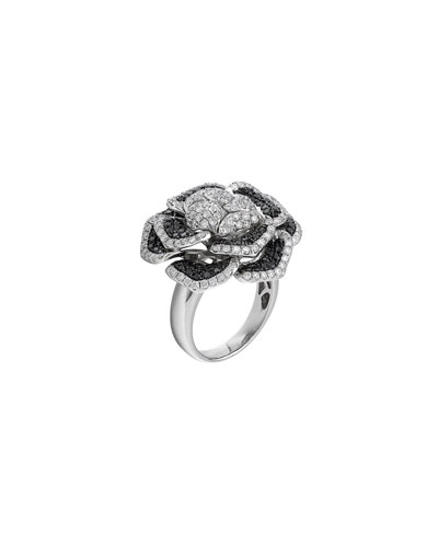18k White Gold Black & White Diamond Rose Ring