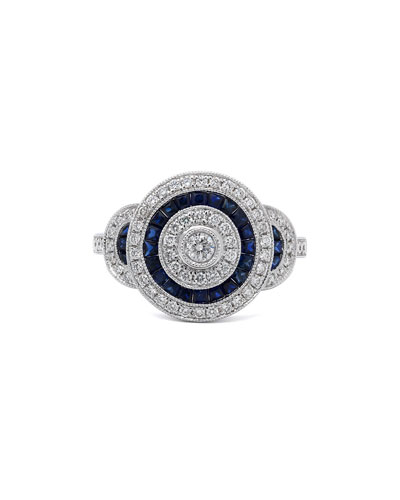 18k White Gold Diamond & Blue Sapphire Ring