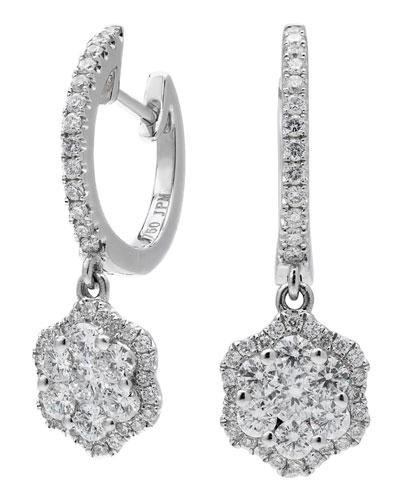 18k White Gold Hexagonal Diamond Drop Earrings