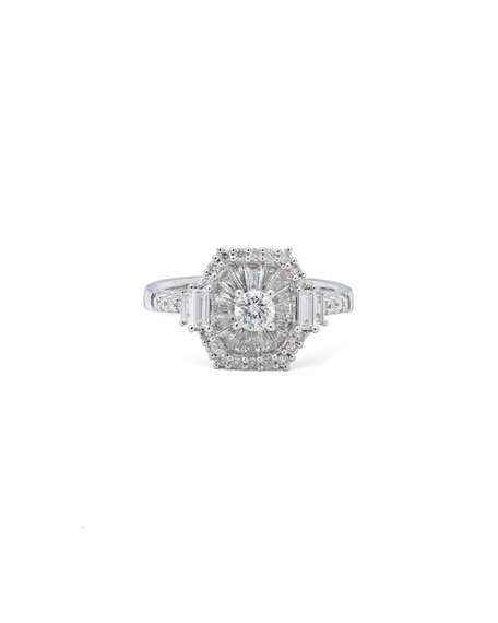 Casa Reale 18k White Gold Diamond Square Illusion Ring