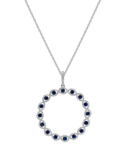 18k White Gold Sapphire & Diamond Circle Pendant Necklace