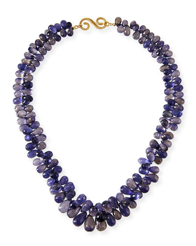 Iolite Toursade Necklace w/ 18k Gold